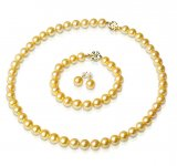 Full Set of 7-7.5 mm Golden Akoya Pearls AA+/AAA