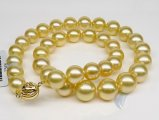 10-14 mm Golden South Sea Pearl Necklace
