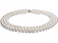 7-8 mm Triple Strand White Pearl Necklace