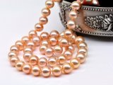 Pink/Peach Freshwater Pearl Necklace 7-8 mm AAA