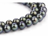 8-9 mm Double Strand Black Pearl Necklace AAA