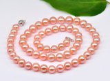8-9 mm Pink/Peach Freshwater Pearl Set 14K Gold