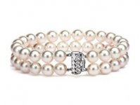 6-10 mm White Double Strand Pearl Bracelet