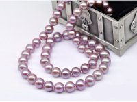 Lavender Freshwater Pearl Necklace 9-10 mm AA+
