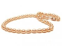Pink/Peach Drop Freshwater Pearl Necklaces