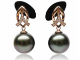 Camille Tahitian Pearl and Diamond Earrings