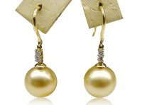 South Sea Pearl & Diamonds Dangle Earrings