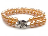 6-10 mm Pink/Peach Double Strand Pearl Bracelet