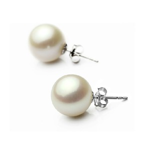 White Akoya Stud Pearl Earrings 7-7.5 mm AAA