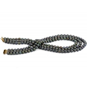 8-9 mm Triple Strand Black Pearl Necklace AAA