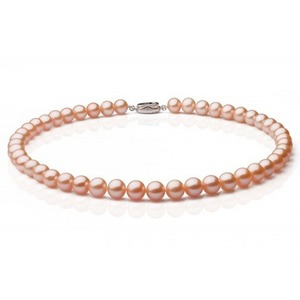 Pink/Peach Freshwater Pearl Necklace 6.5-7 mm AAA