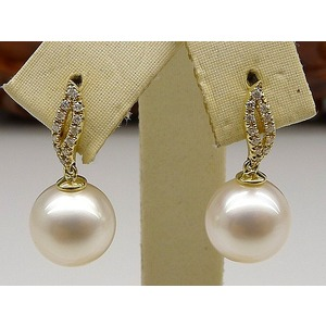 Basil South Sea Pearl & Diamond Earrings