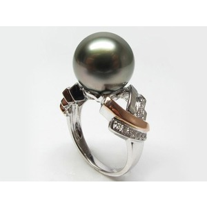 Pernelle Tahitian Pearl and Diamond Ring