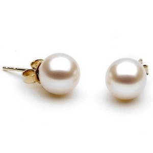 8-9 mm White Freshwater Pearl Stud Earrings