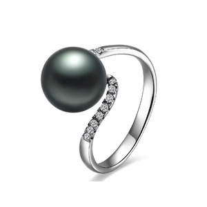 Babette Tahitian Pearl and Diamond Ring