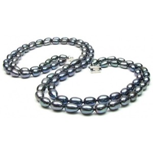 Double Strand Black Freshwater Drop Pearl Necklace
