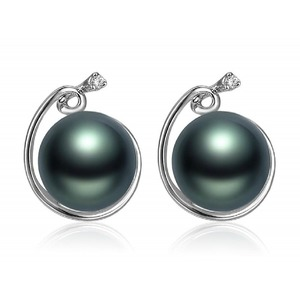 Tahitian Pearl and Diamond Earrings 14K/18K Gold