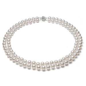 Double Strand White Freshwater Necklace 6-7 mm