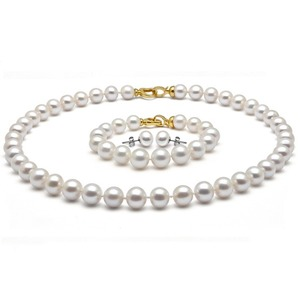 6-7 mm White Freshwater Pearl Set 14K Gold