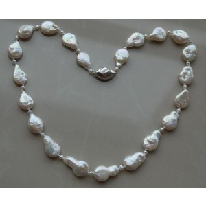 11-12 mm White Freshwater Baroque Pearl Necklace