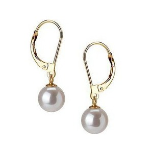 White Freshwater Pearl Dangle Earrings