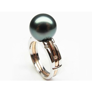 Two-Tone Tahitian Pearl and Diamond Rings