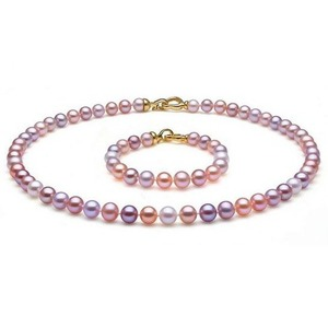 8-9 mm Multicolor Freshwater Pearl Set 14K Gold