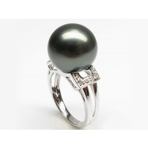 Pascaline Tahitian Pearl and Diamond Ring