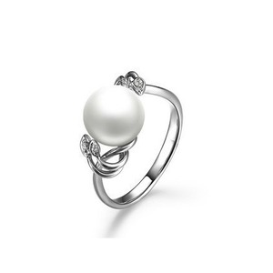 Yvonette Akoya Pearl and Diamond Ring