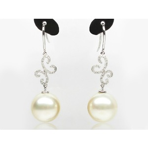Nadia South Sea Pearl and Diamond Earrings .45Ct