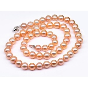 6-7 mm Pink/Peach Freshwater Pearl Set 14K Gold