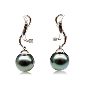Lilith Tahitian Pearl and Diamond Earrings