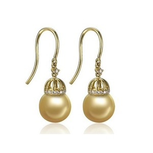 Larry South Sea Pearl and Diamond Earrings