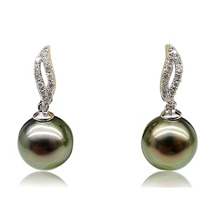 Eartha Black Tahitian Pearl and Diamond Earrings