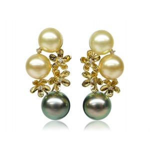 9-10 mm South Sea & Tahitian Pearl and Diamond Earrings