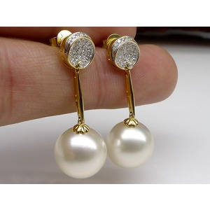Britney South Sea Pearl and Diamond Earrings