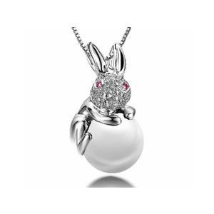 Rabbit Akoya Pearl and Diamond Pendants