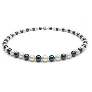 6-6.5 mm Black & White Akoya Pearl Necklaces