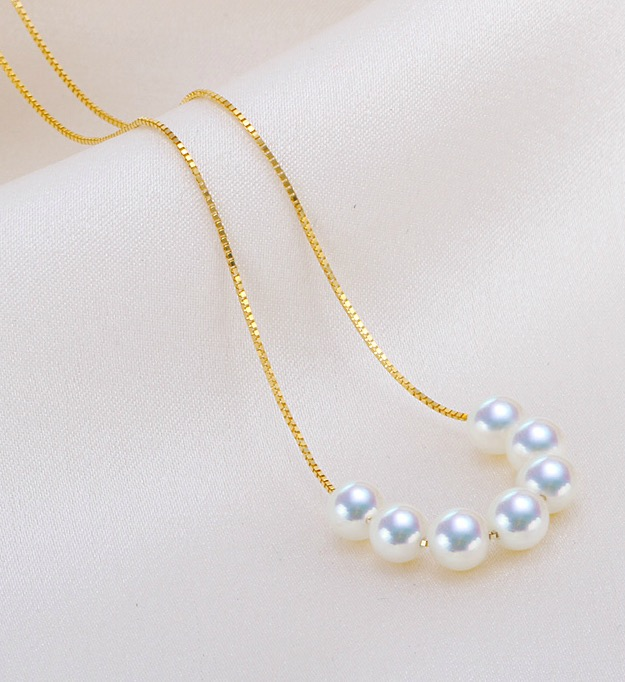 White Akoya Pearl Tin Cup Necklace Tin Cup Pearl Necklaces