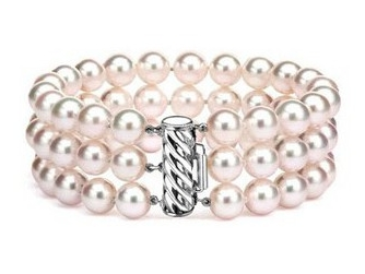 Triple Strand 6 10 Mm White Pearl Bracelet