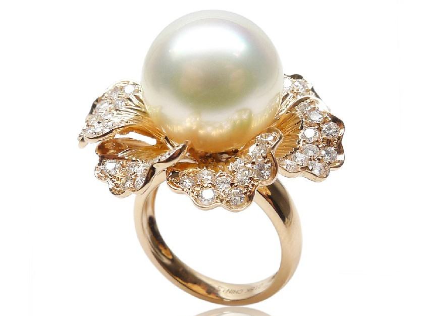 ring diamond flowering gold ladies rings pearl white