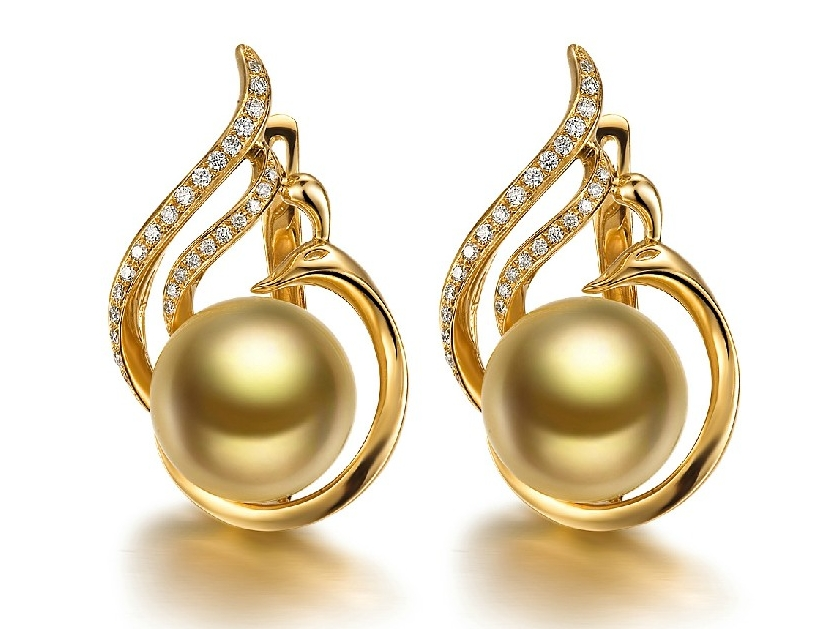 Swan South Sea Pearl And Diamond Earrings 72ct