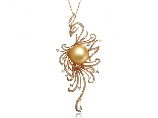 Phoenix south sea pearl and diamond pendant ssp753485t phoenix south sea pearl and diamond pendant aloadofball Images