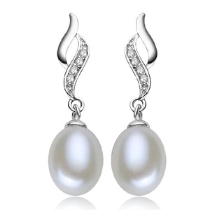 Freshwater Drop Pearl And Diamond Earrings