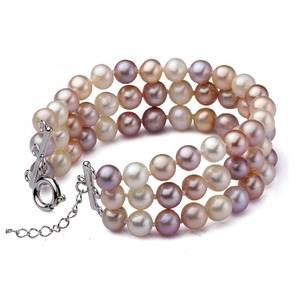Triple Strand 6 10 Mm Multicolor Pearl Bracelet