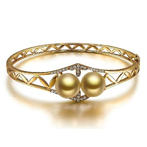 10 11 Mm South Sea Diamond Pearl Bangle Bracelet
